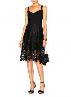 Oscar De La Renta Baroque Guipure Lace Skirt Overlay Corset Dress