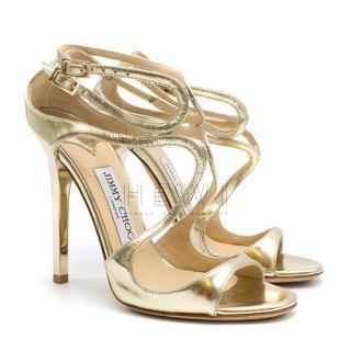 Jimmy Choo Gold Liquid Mirror Leather Sandals