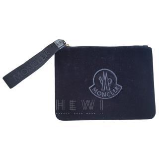 Moncler Black Velvet Logo Pouch