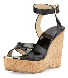 Jimmy Choo Papyrus Patent Cork Wedge in Black
