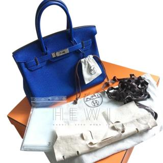 Hermes Blue Electric 30cm Birkin Bag