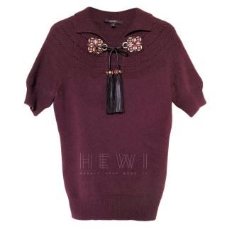 Gucci Burgundy Wool Tassel Detail Polo Top