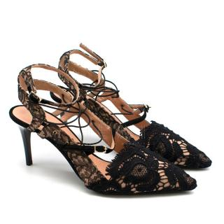 Roland Mouret Black Lace Pointed-toe Nude Pumps