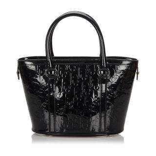Dior Black Oblique Patent Leather Tote Bag