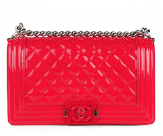 Chanel Red Patent Leather Le Boy