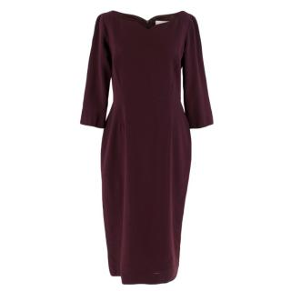 Goat Maroon Fitted Wool Midi Dress