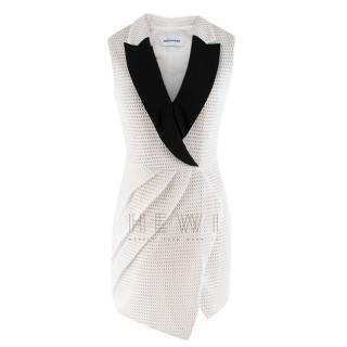 Self-Portrait Black & White Mesh Tuxedo Dress