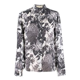 Stella McCartney Black & White Floral Silk Shirt
