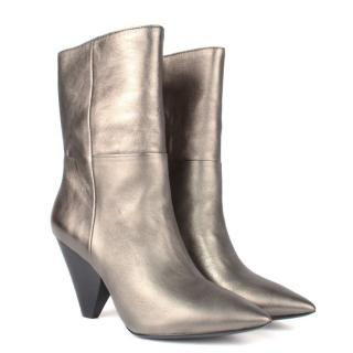 Ash Metallic Leather Ankle Boots