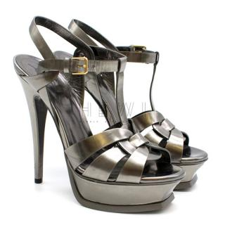 Saint Laurent Tribute Sandal in Dark Silver Patent Leather