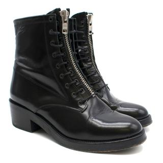 Sandro Black Patent Leather Lace-Up Boots