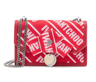 Jimmy Choo Finley Logo Tape Cross Body Bag in Red