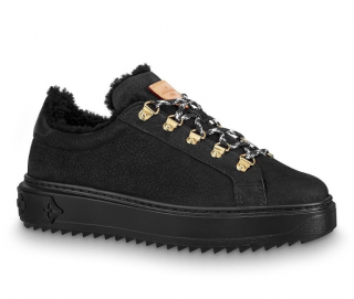 Louis Vuitton Black Suede Shearling Lined Time Out Sneakers