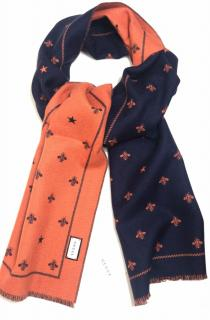 Gucci navy and orange bees super soft wool scarf