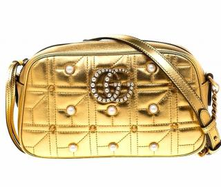 Gucci iSmall GG Marmont Studded Metallic Leather Chain Shoulder Bag