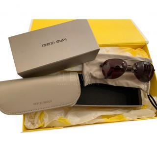 Giorgio Armani Brown Aviator Sunglasses