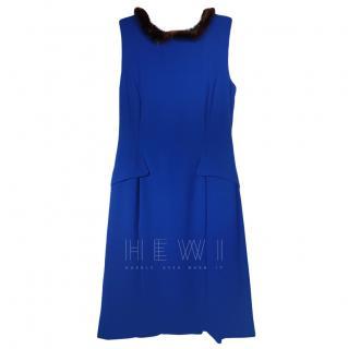 Twin-Set by Simona Babieri Mink Fur Trim Blue A-Line Dress