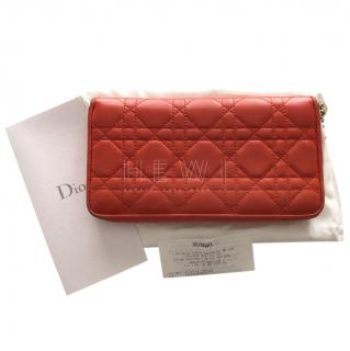 Dior Cannage Leather Lady Dior Continental Zip Wallet