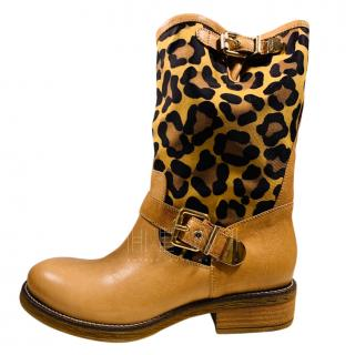 Luciano Padovan Leopard Print Leather Mid Calf Boots