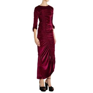 Preen by Thornton Bregazzi Burgundy Velvet Hitch Dress