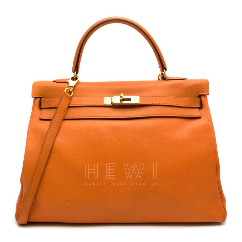 Hermes Tangerine Swift Leather Kelly 35