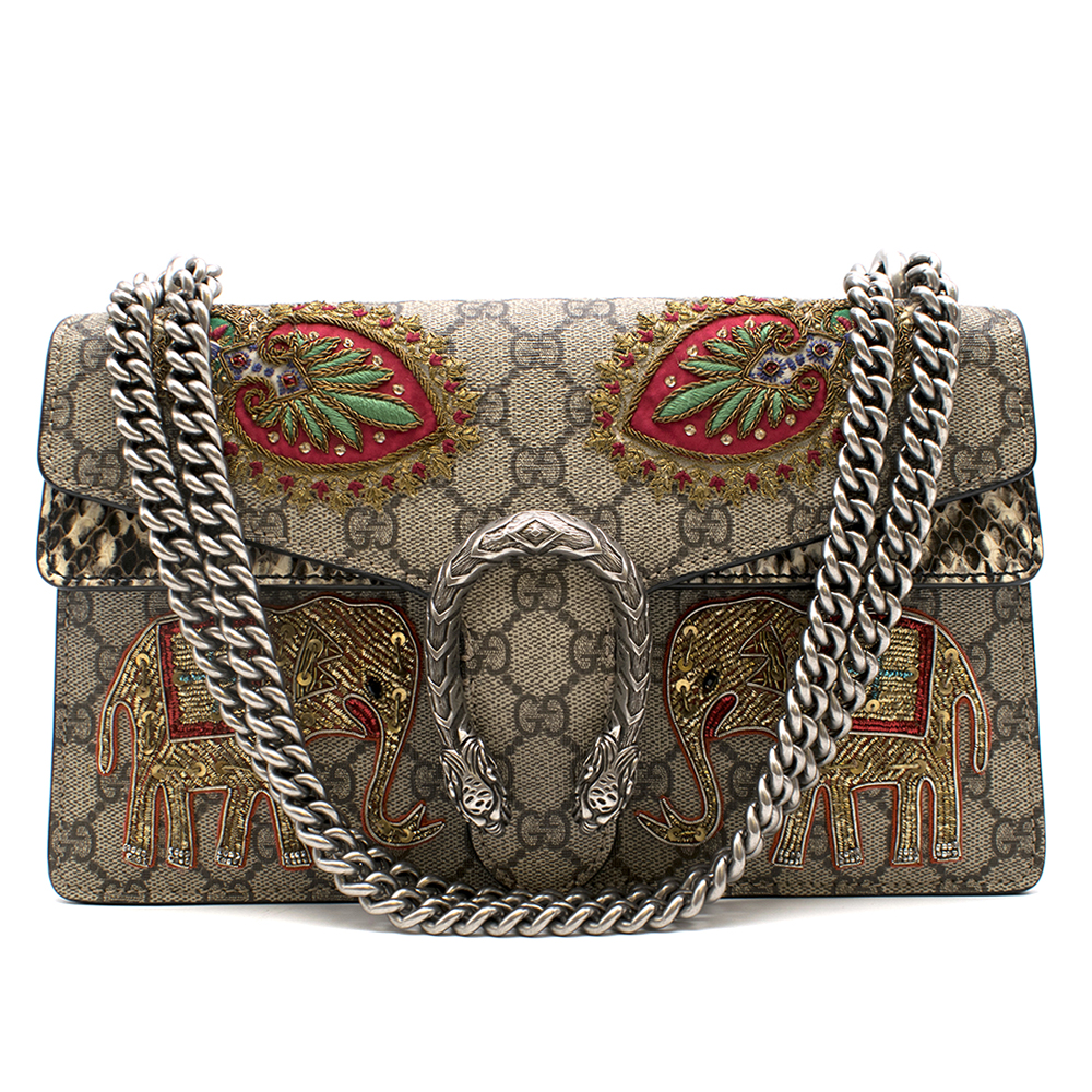 Gucci Embroidered Python & Monogram Canvas Dionysus Bag