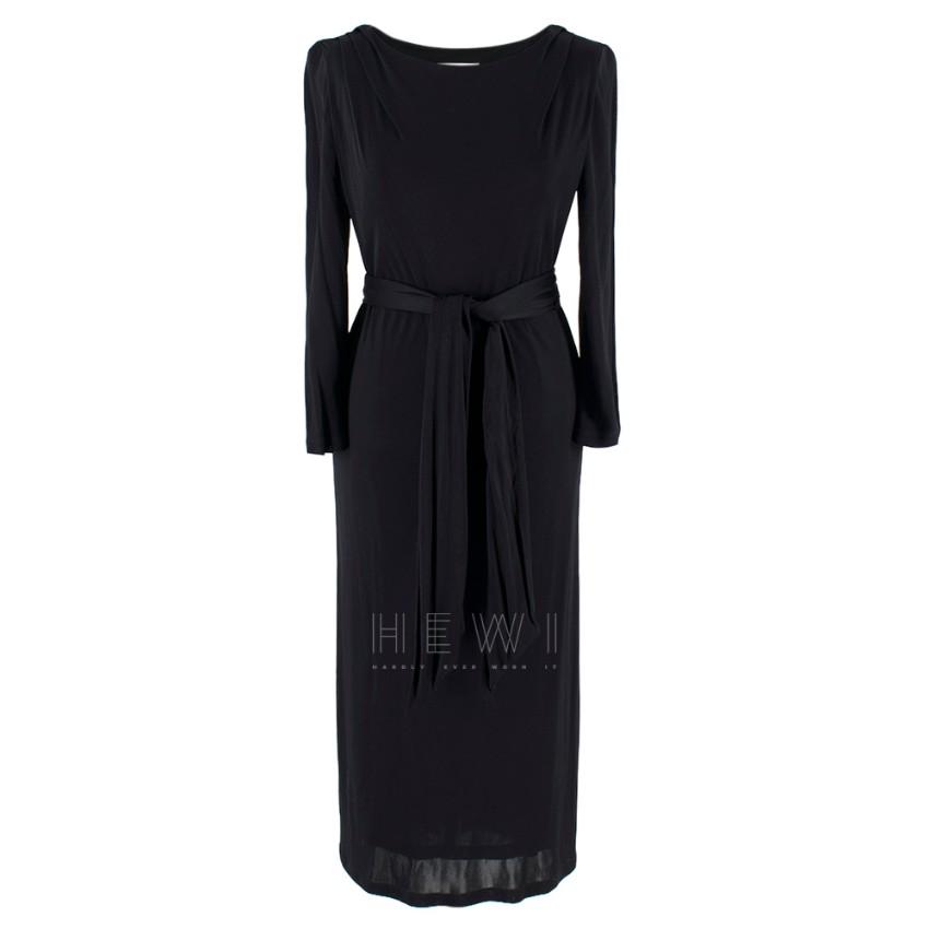 Emilio Pucci Black Jersey Belted Midi Dress