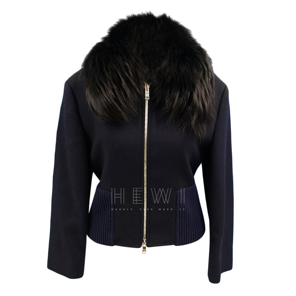 Prada Wool Blend Fur Trimmed Bomber Jacket