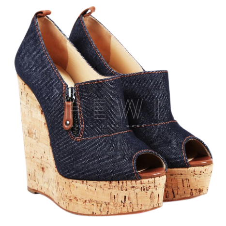Christian Louboutin denim cork wedges