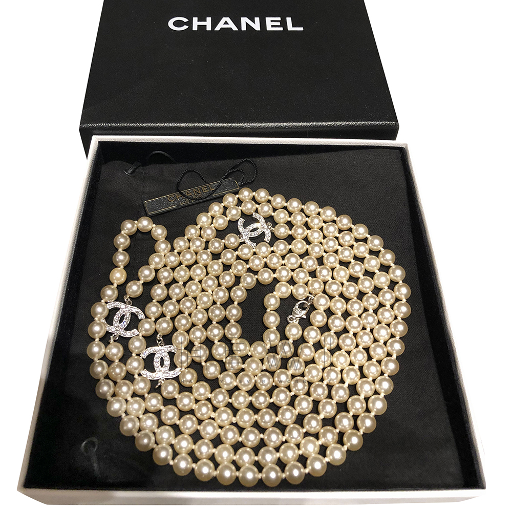 Chanel Crystal CC Pearl Necklace