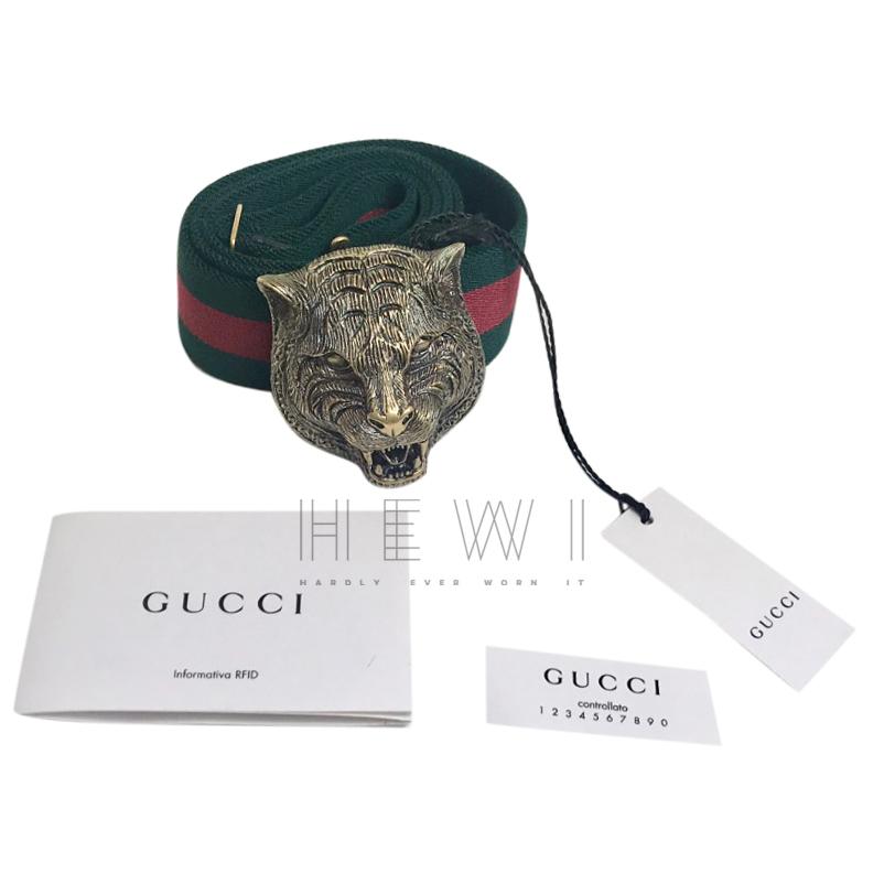 Gucci Web Stripe Tiger Head Buckle Belt