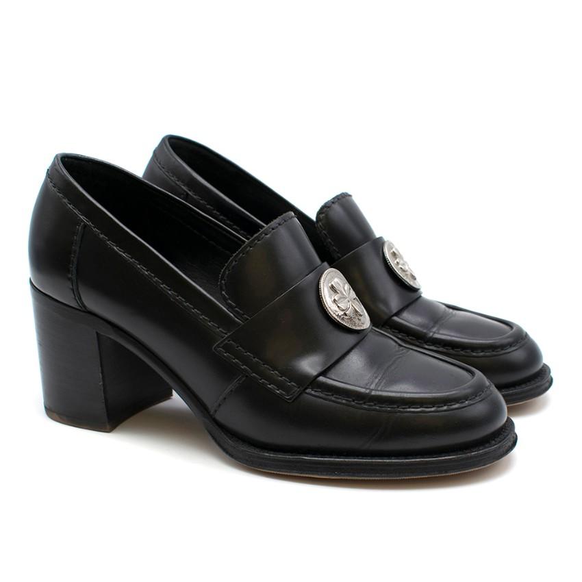 Chanel black clover embellished mid heel loafers