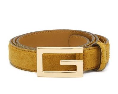 Gucci Mustard Suede G Buckle Belt