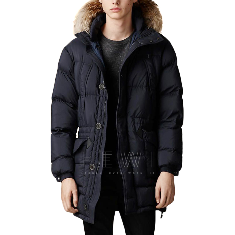 Burberry down-filled parka with a raccoon fur trim