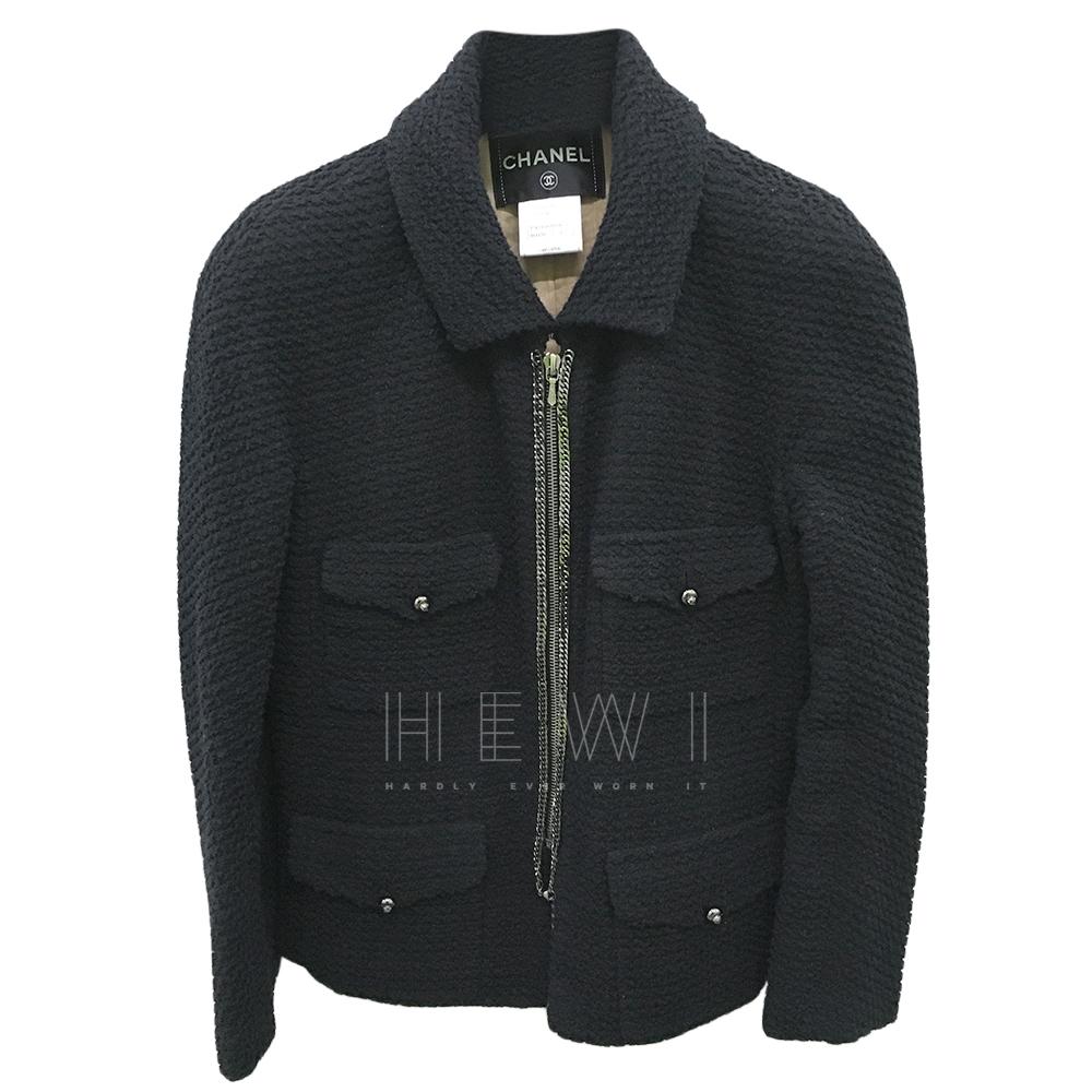 Chanel Black Tweed Chain Detail Jacket