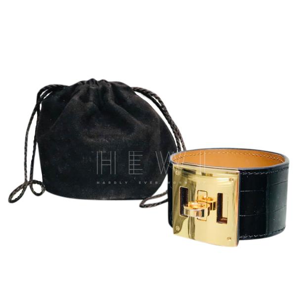 Hermes Black Alligator Kelly Dog Cuff Bracelet