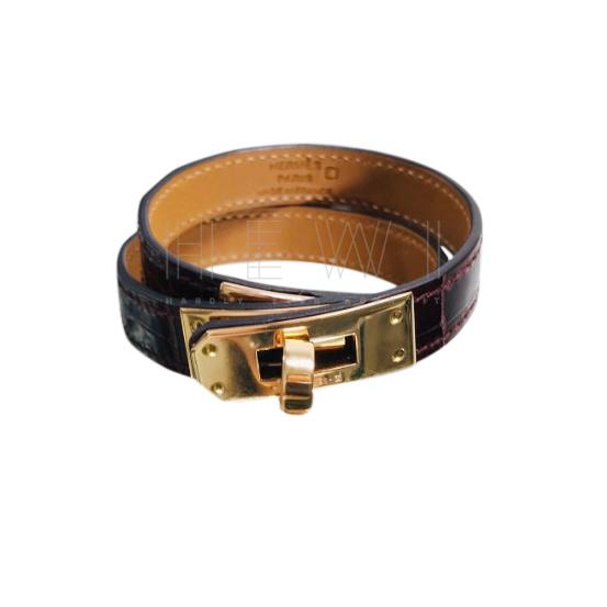 Hermes Bordeaux Alligator Kelly Double Tour Bracelet