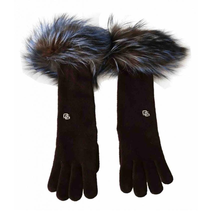 Dolce & Gabbana Brown Cashmere Gloves W/ MInk Fur Trim