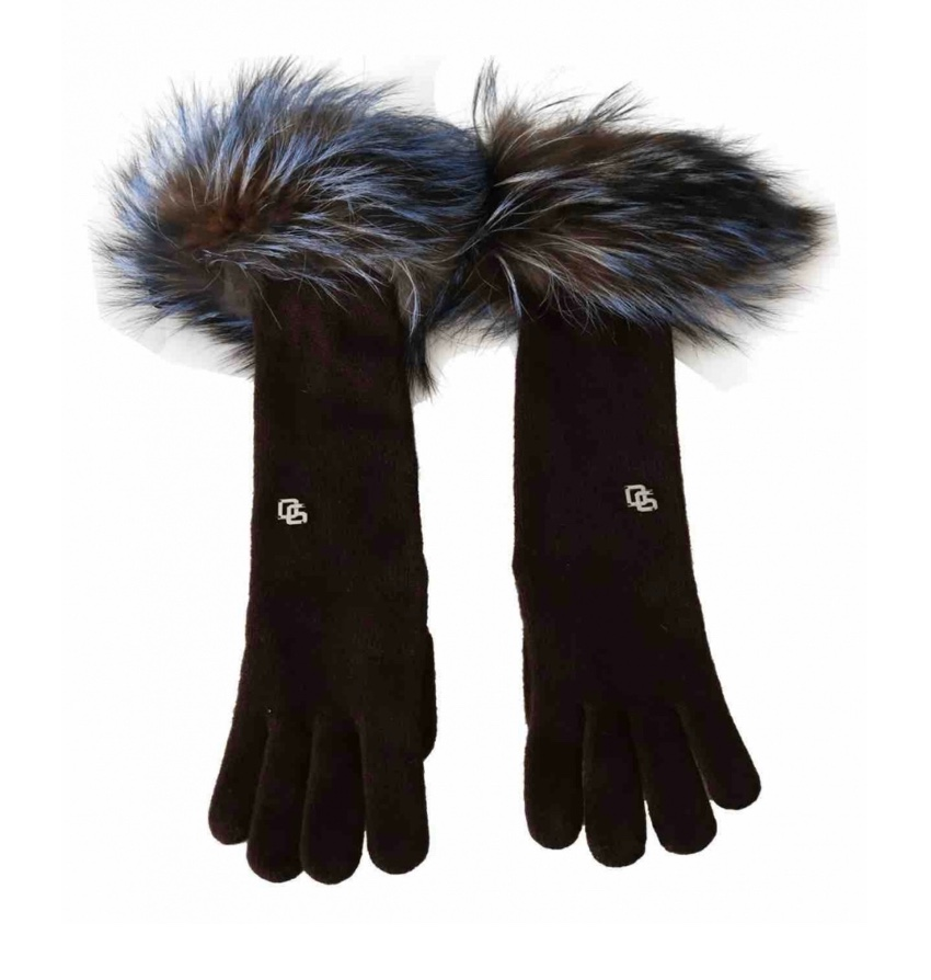 Dolce & Gabbana Brown Cashmere Gloves W/ MInk Fur Trim