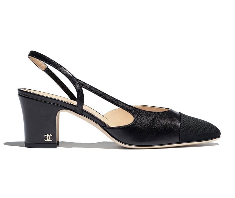 Chanel Goatskin & Grosgrain Black Slingback Sandals