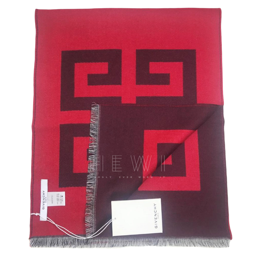 Givenchy Red Reversible Logo Print Wool Scarf