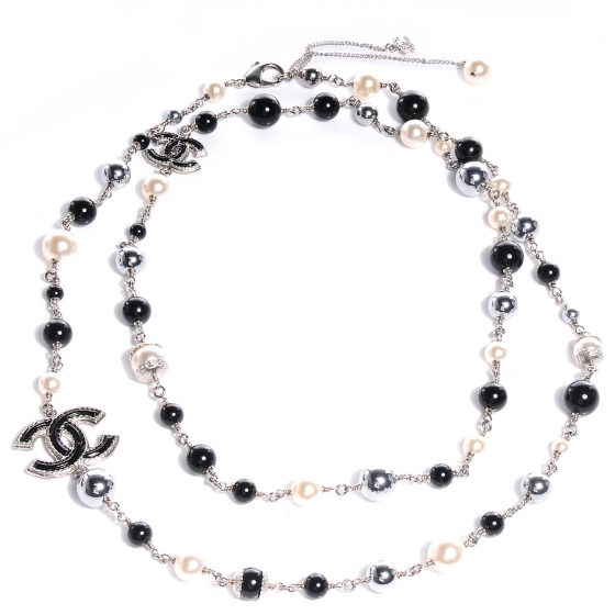 Chanel Black, Ivory & Silver Faux Pearl Double Strand CC Necklace