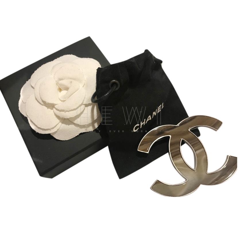 Chanel CC Silver Tone Pin Brooch