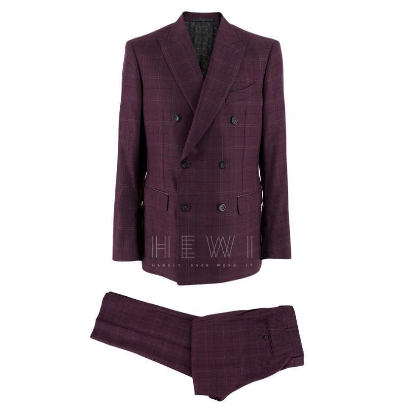Ferutdin Zakirov Purple Double Breasted Checked Wool & Silk Suit