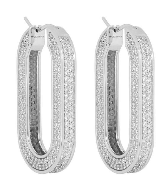 Celine Silver-Tone Edwige Crystal Oval Hoop Earrings