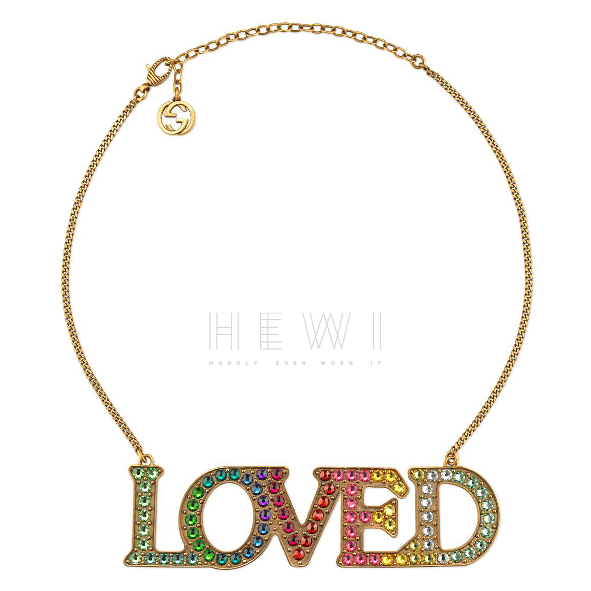 Gucci Crystal Embellished LOVED Necklace