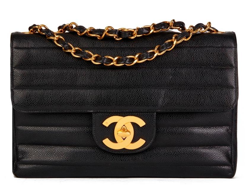Chanel Black Caviar Leather Striped Quilt Jumbo Flap Bag