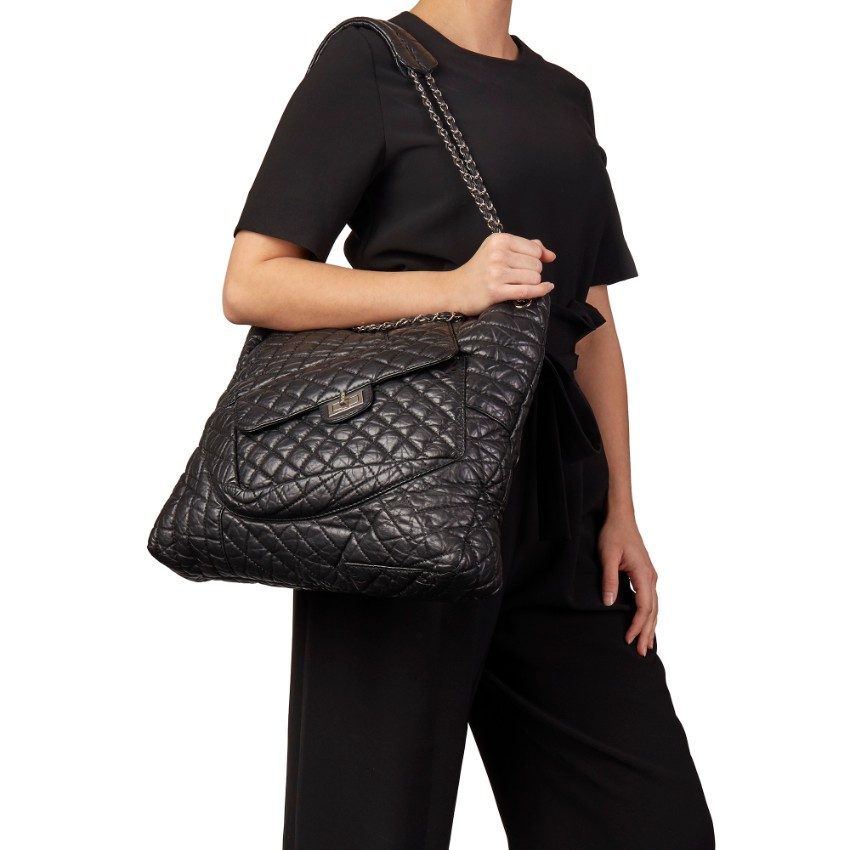 Chanel Black Aged Leather Fantasy XL Shopping Tote