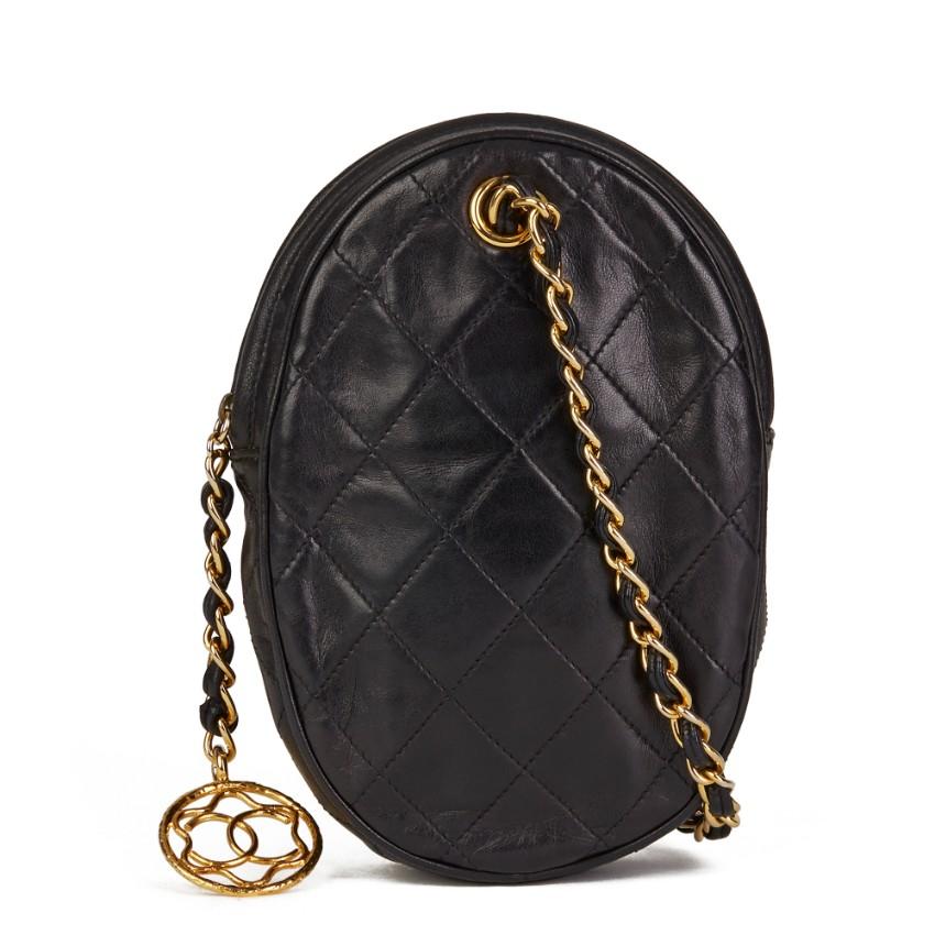 Chanel Vintage Black Leather Wrist Bag