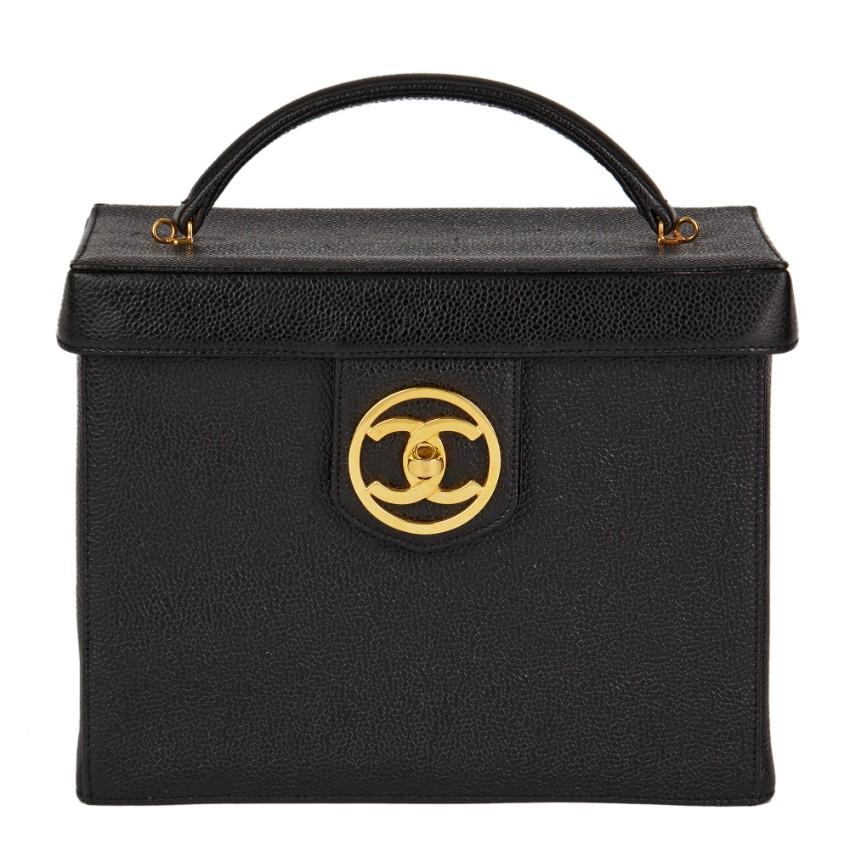 Chanel Vintage Caviar Leather Top Handle Vanity Case